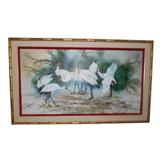 Crane Asian Signed Bird Painting