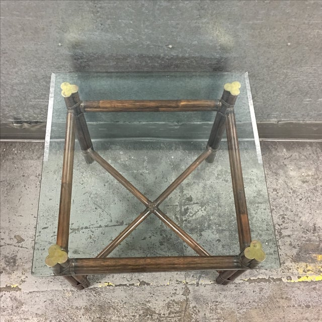 McGuire Bamboo & Glass Side Table - Image 5 of 6