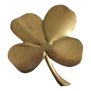 24k Gold Tone Plated Brass Four Leaf Clover Paperweight