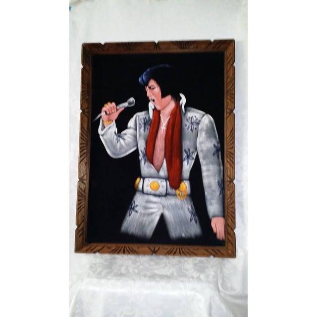 1995 Vintage Large Framed Velvet Elvis Painting - Image 2 of 4
