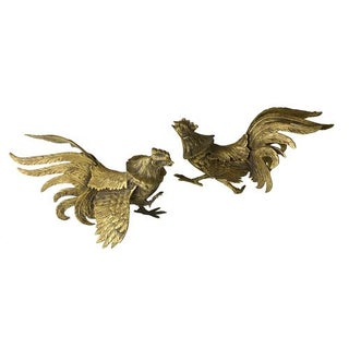 Vintage Brass Roosters - A Pair
