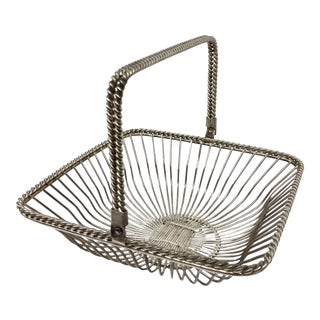Vintage Square Silver Plate Wire Basket