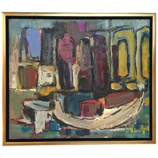 Signed Mid-Century Abstract Oil on Board