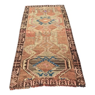 "Distressed Antique Turkish Oushak Rug - 3'4""x7'1"""