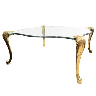 LaBarge Hollywood Regency Brass/Glass Coffee Table