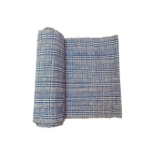 Homespun Nubby Plaid Fabric Textile - 7 Yards - Image 1 of 4