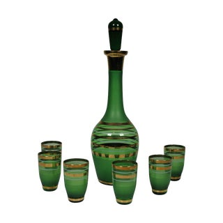 1960's Green Glass Bohemian Decanter Set