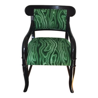 Malachite Chair With Glossy Black Frame
