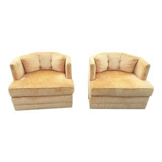 Mid -Century Modern Swivel Club Chairs - a Pair