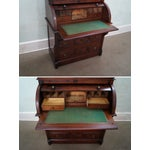 Image of Victorian Walnut Cylinder Roll Secretary Desk