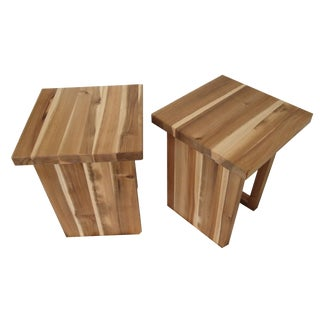 Baughman-Style Hickory End Tables - A Pair