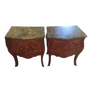 French Louis XV Style Bombe Side Chests- A Pair