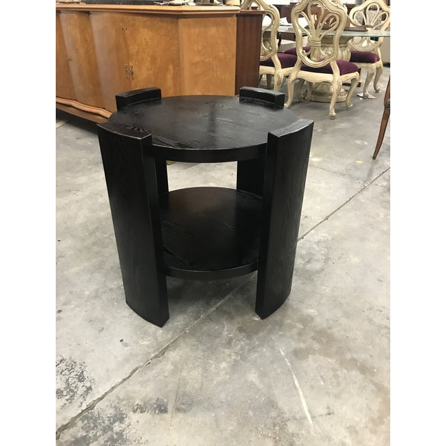 Monumental French Art Deco Solid Ebonized Cerused Oak Coffee Table Circa 1940s. - Image 8 of 11