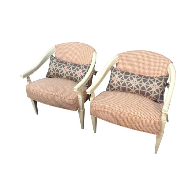Orange and Ivory CustomUpholstered Chairs - A Pair - Image 1 of 6