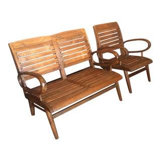 Teak Loveseat and Chair - Pair