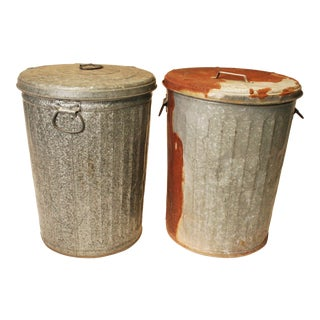 Vintage Galvanized Industrial Trash Cans w Lids - A Pair