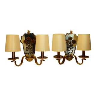 French Brass and Mirrored Glass Sconces - A Pair