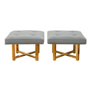 Low Brass Base Ottomans - A Pair