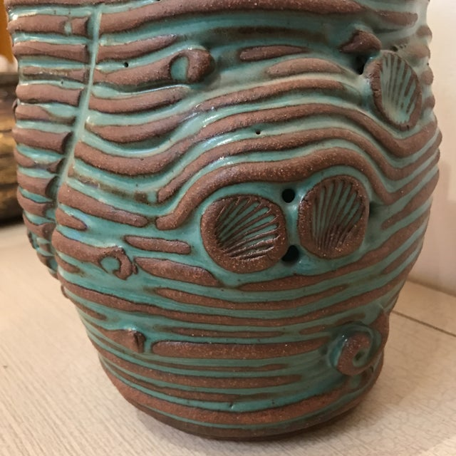 Turquoise Coiled Ceramic Vase - Image 7 of 9