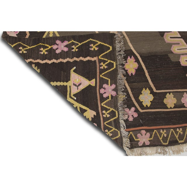 Turkish Primitive Large Kilim Rug - 9′7″ × 10′5″ - Image 9 of 10