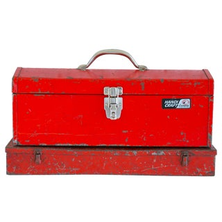 Industrial Red Metal Boxes/Set of 2
