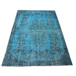 Image of Turqoise Overdyed Turkish Area Rug - 5′10″ × 9′7″