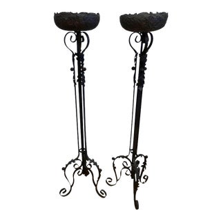 1920s Hand-Forged Iron Fern Stands - a Pair