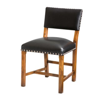 Sarreid Ltd. Wanut & Black Leather Side Chair