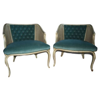 Pair French Louis XV Style Painted Bergere Chairs