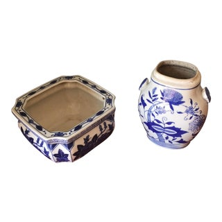 Blue & White Ceramic Vases - A Pair