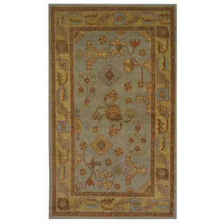 Blue Turkish Oushak Rug - 4′5″ × 7′