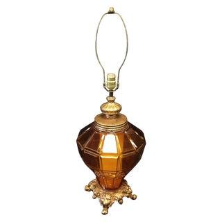 Large Vintage Ornate Amber Glass Dual Lamp