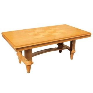 French Art Deco Sycamore Dining Table, Leleu Style