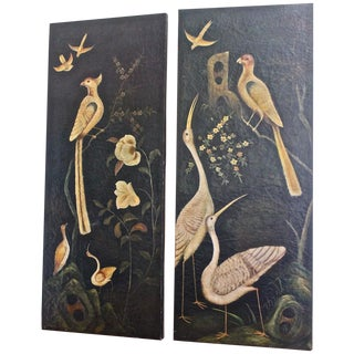 Pair of Baroque Style Bird Paintings on Canvas