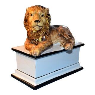 Mid-Century Italian Majolica Resting Lion