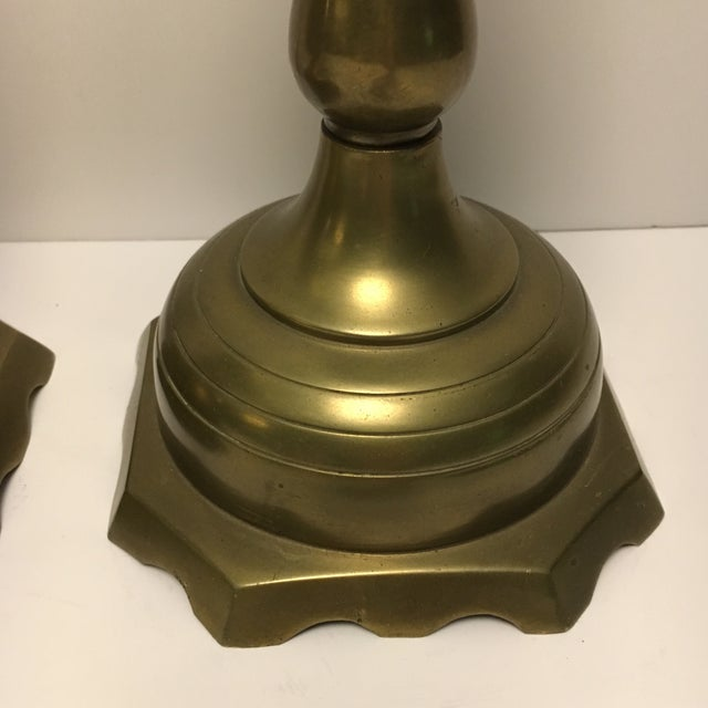 Image of Large Solid Brass Candleholders - a Pair
