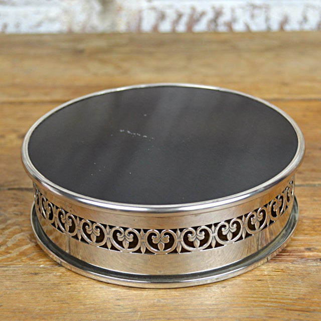 Fleur De Lys Silverplate Wine Coaster - Image 4 of 6