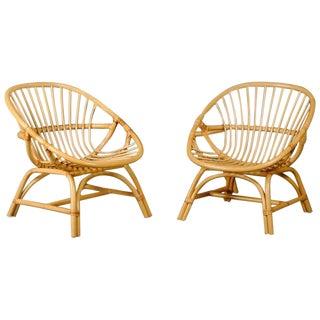 Danish Rattan Hoop Arm Chairs - A Pair
