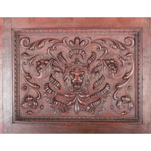 C. 1880 Vanderbilt Mansion Original Hand-Carved Oak Lion Wall Panel - Image 4 of 11
