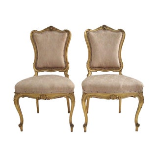 19th Century Louis XV Blush Parlor Chairs - A Pair