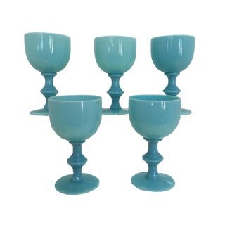 Vintage Aqua Blue Opaline Goblets - Set of 5