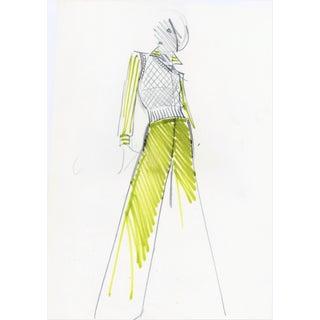 1960s Original Balmain Fashion Illustration