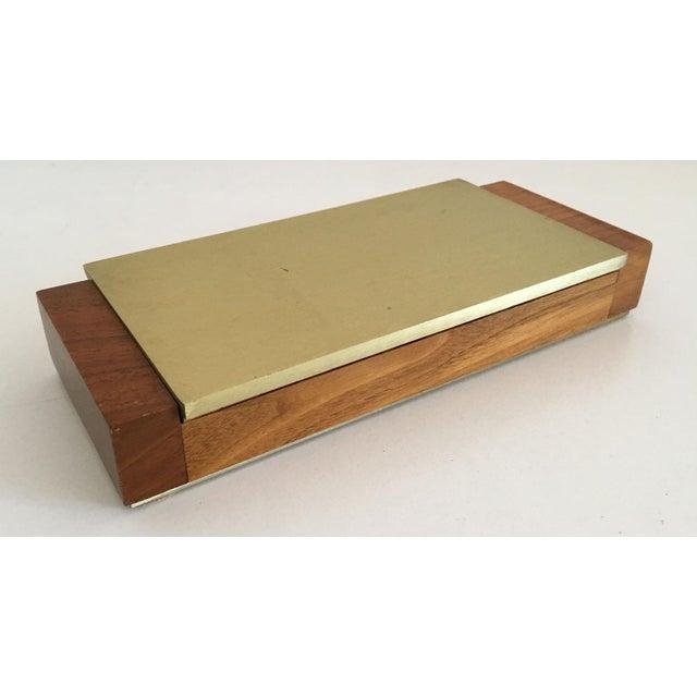 Mid-Century Modern Gold Aluminum and Wood Box - Image 4 of 11