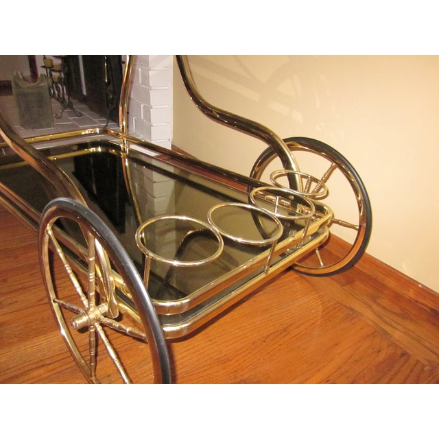 Vintage Italian Polished Brass Trolley Bar Cart - Image 5 of 5