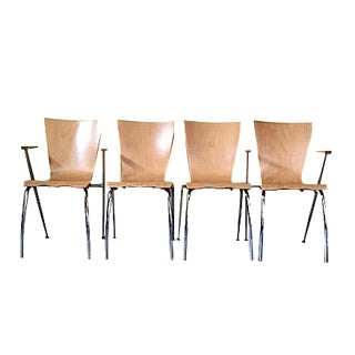 Arne Jacobsen Style Bent Wood Chairs - Set of 4