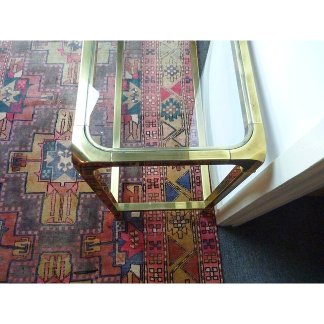 Mastercraft Vintage Brass & Glass Console Table - Image 5 of 11