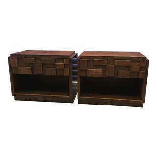 Lane Brutalist Cubist Mosaic Nightstands - A Pair