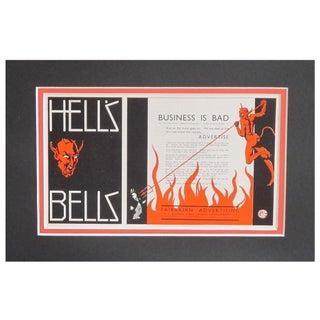 "1920s Vintage Matted Ad ""Hells Bells"""
