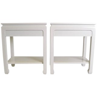 Pair of White Lacquer Tables, USA, circa 1960s