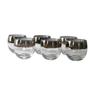 Dorothy Thorpe Silver Rimmed Roly Poly Cocktail Glasses - Set of 6